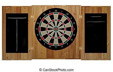 Dartboard - Illustration of a dartboard inside a wooden case...