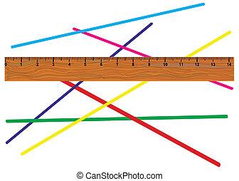 Wooden yardstick. - Wooden yardstick against color line ,...