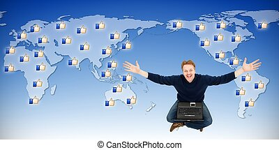 Man receiving likes from around the world