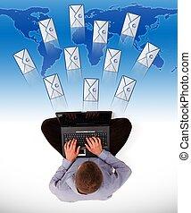 Man sending a lot of e-mails