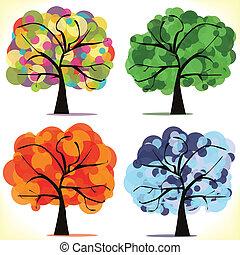 säsongbetonad, abstrakt, vektor, träd