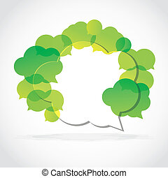 Speech cloud collection green
