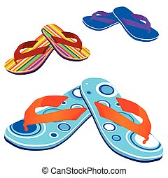 flip flop for beach vector illustration on white background