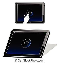tablet in black color vector illustration