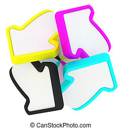 CMYK swirl - Four arrows in CMYK swirl isolated on the white...