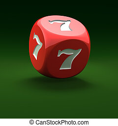 Lucky seven - Red dice with lucky seven on the green...