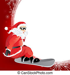 christmas card - vector illustration of santa claus to go...