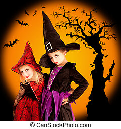 Halloween children girls with tree and bats - Halloween two...