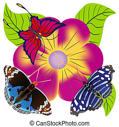 Abstract butterfly against a flower - Abstract butterfly...