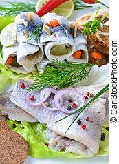 Fish platter - Pickled and fried herrings, matjes; hangover...