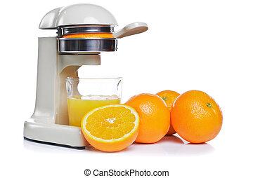 Freshly squeezed orange juice isolated - Photo of a juicer...