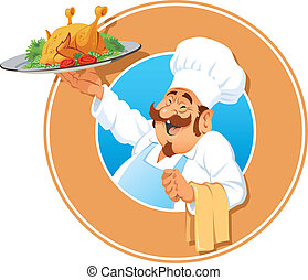 The jolly Cook with a roasted chicken, vector illustration