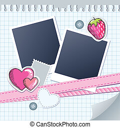 cute frame for photos with scrapbook elements