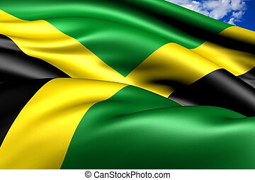 Flag of Jamaica. Close up.