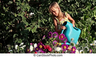 Girl and flowers