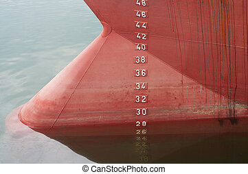 draft scale numbering - bow of a ship with draft scale...