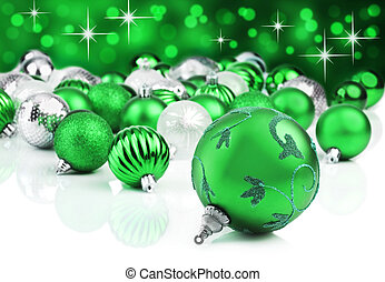 Green christmas ornament baubles wi