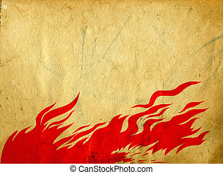 red fire on grunge background