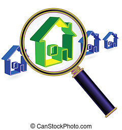 Home under magnifier glass - House sign under magnifier...