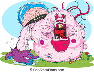 Pink monster - Zombie pink rabbit walking on a meadow Vector...