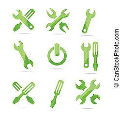 industrial,  Color, Extracto, símbolos, Conjunto, verde