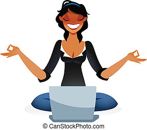 Zen business woman relaxing in lotus position in front of...