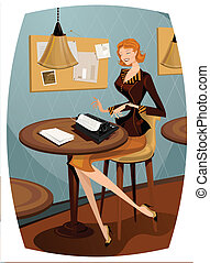 Retro woman typewritting