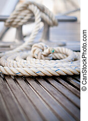 Mooring rope - Close-up of a mooring rope with a knotted end...