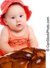little girl with a bun