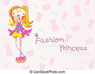 Fashion princess - Colorfull vector illustratuion of a...