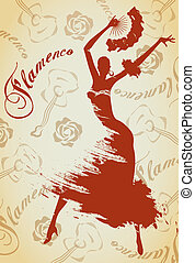 Flamenco girl - Abstract vector illustration of a dancing...