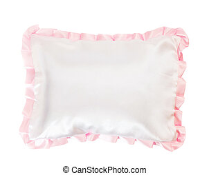 white pillow with a pink frill on white