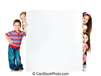crianças, ao lado, branca, em branco