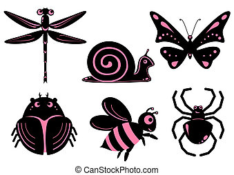 Funny stylized insects - Set of funny stylized insects like...
