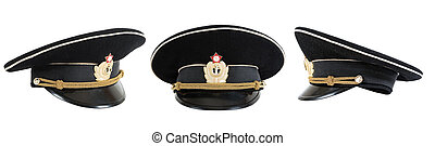 Russian navy service peak cap on white background