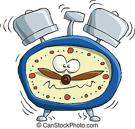 Alarm clock on white background, vector illustration