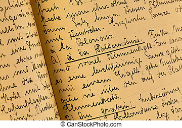 old cookbook - an old, hand-written cook book with recipes...