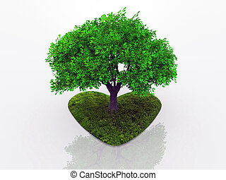 tree love - a tree rooted in a heart budding