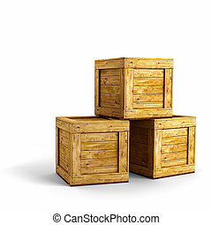 Wood crates - Three wooden crates over white background