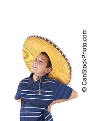Portrait of the teenager in a sombrero - The smiling...