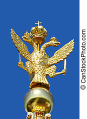 Two-headed golden eagle on the steeple in the Peterhof...