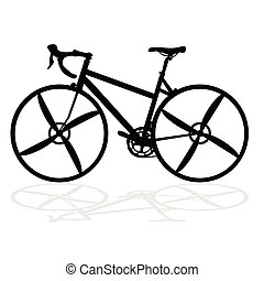 bike for competition in black vector silhouette