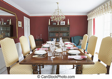 Dining Room With Laid Table