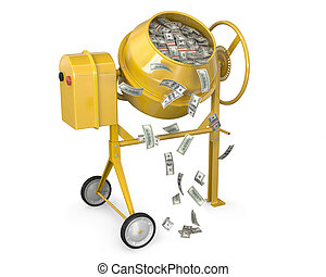 Concrete mixer full of dollars with falling banknotes