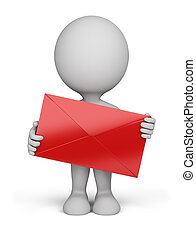 3d person - envelope - 3d person standing with a red letter...