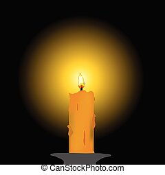 candle illustration - candle vector illustration on black...