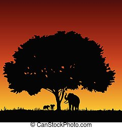 elephant family and tree art vector silhouette