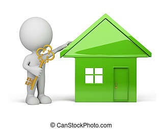 3d person - house and a golden key - 3d person standing next...