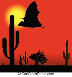 flying bat black silhouette and cactus illustration