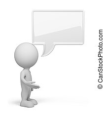 3d person - talk - 3d person with empty chat bubble. 3d...